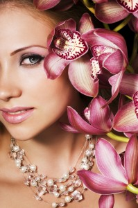 Beauty with pink orchids