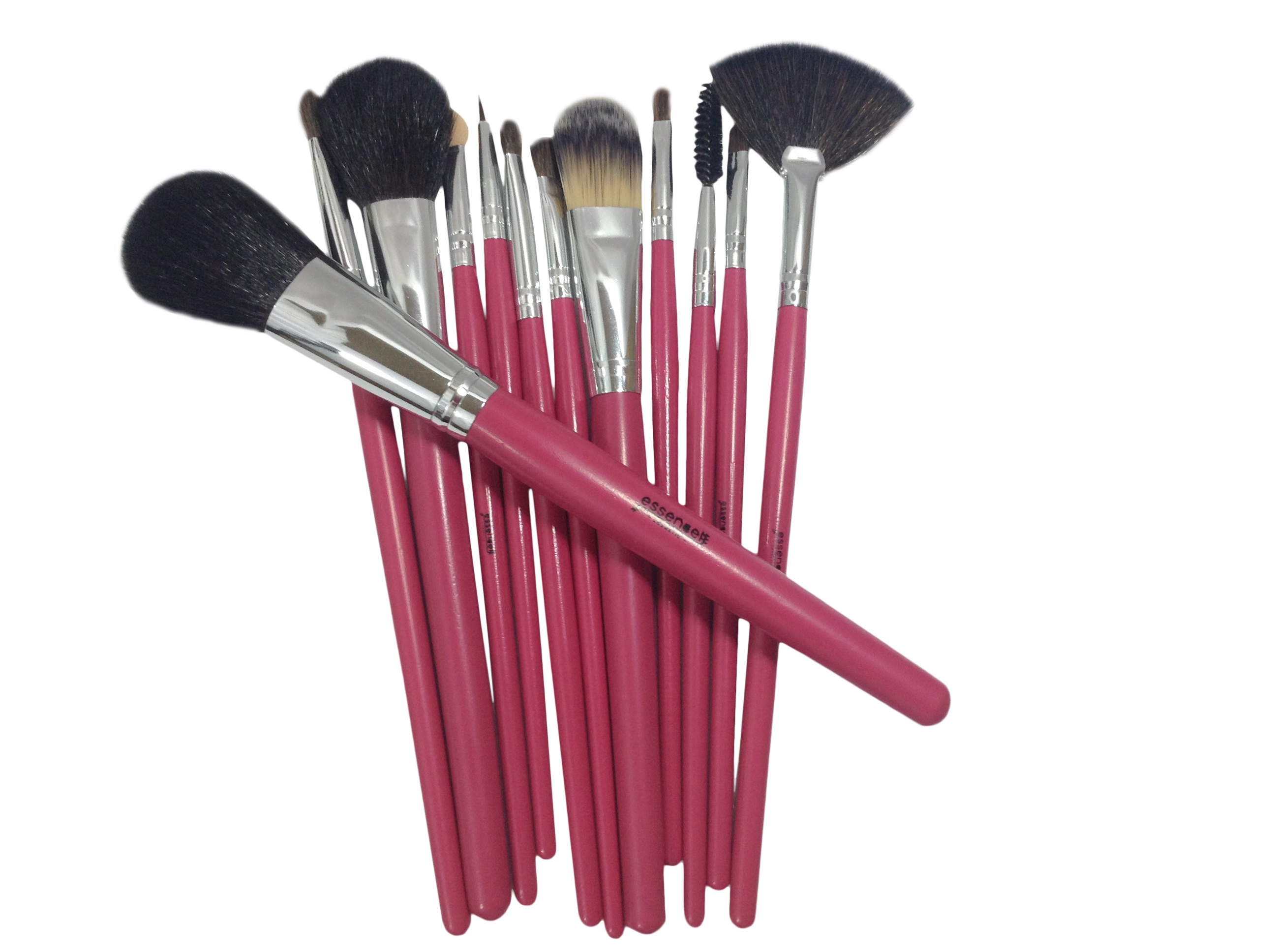hot pink professional makeup brush set